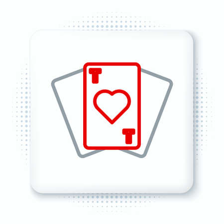 Line Playing cards icon isolated on white background. Casino gambling. Colorful outline concept. Vector