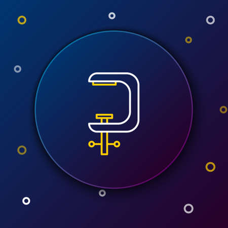 Line Clamp and screw tool icon isolated on blue background. Locksmith tool. Colorful outline concept. Vector