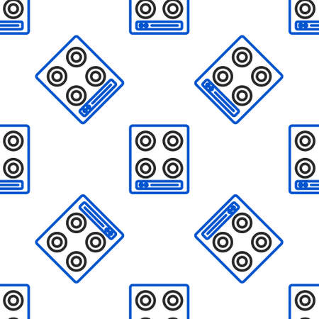 Line Gas stove icon isolated seamless pattern on white background. Cooktop sign. Hob with four circle burners. Colorful outline concept. Vector