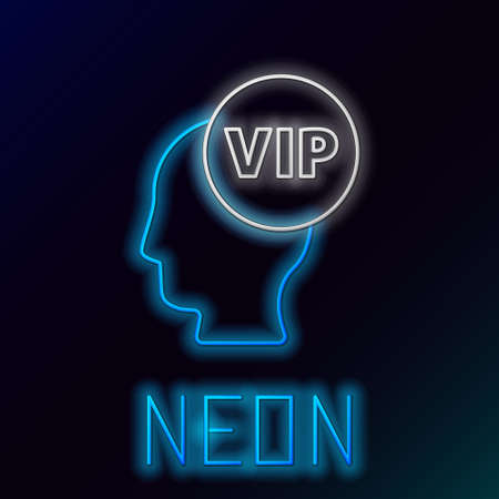 Glowing neon line Vip inside human head icon isolated on black background. Colorful outline concept. Vector