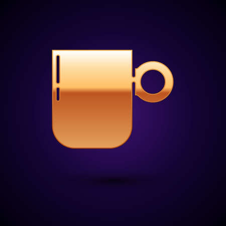 Gold Coffee cup icon isolated on black background. Tea cup. Hot drink coffee. Vector