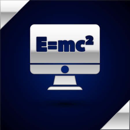 Silver Math system of equation solution on computer monitor icon isolated on dark blue background. E equals mc squared equation on computer screen. Vector Ilustración de vector