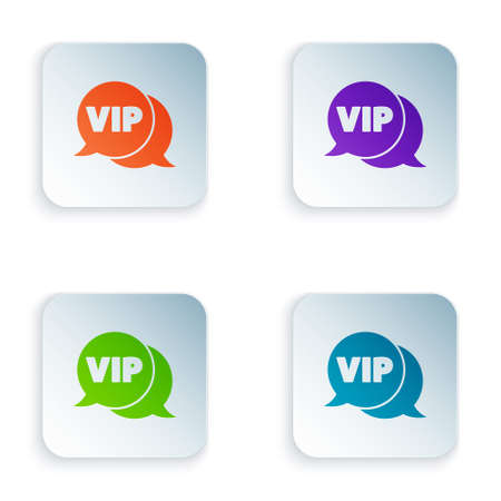 Color Vip in speech bubble icon isolated on white background. Set colorful icons in square buttons. Vector