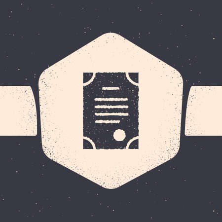 Grunge Death certificate icon isolated on grey background. Monochrome vintage drawing. Vector Ilustrace