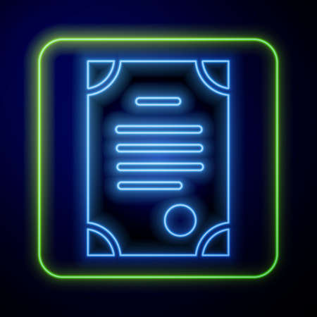 Glowing neon Death certificate icon isolated on blue background. Vector