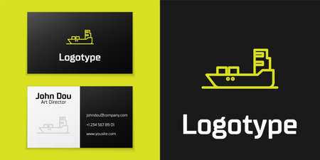 Logotype line Oil tanker ship icon isolated on black background. 向量圖像