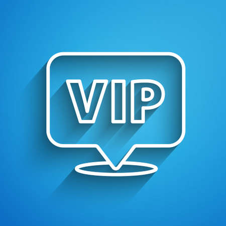White line Location Vip icon isolated on blue background. Long shadow. Vector