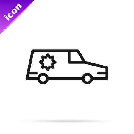 Black line Hearse car icon isolated on white background. Vector
