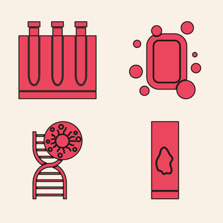 Set Blood test and virus, Blood test and virus, Bar of soap and DNA symbol and virus icon. Vector Illustration
