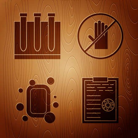 Set Clipboard with blood test results, Blood test and virus, Bar of soap and No handshake on wooden background. Vector Illustration