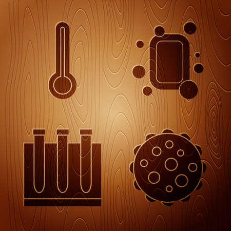 Set Virus, Medical thermometer, Blood test and virus and Bar of soap on wooden background. Vector Illustration