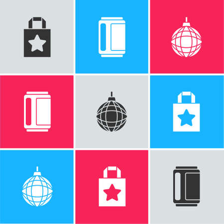 Set Paper shopping bag, Beer can and Disco ball icon. Vector Vettoriali