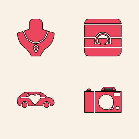 Set Photo camera, Necklace on mannequin, Wedding rings and Limousine car icon. Vector