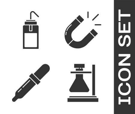 Set Test tube flask on stand, Laboratory wash bottle, Pipette and Magnet icon. Vector