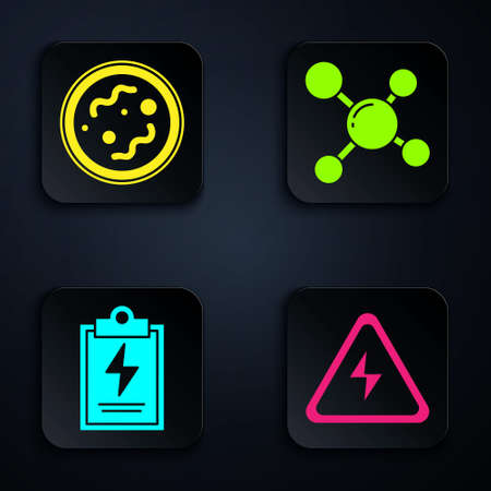 Set High voltage sign, Bacteria, Laboratory clipboard with checklist and Molecule. Black square button. Vector