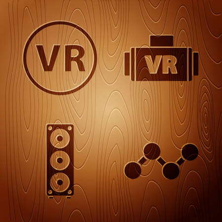 Set Share, Virtual reality glasses, Stereo speaker and Virtual reality glasses on wooden background. Vector