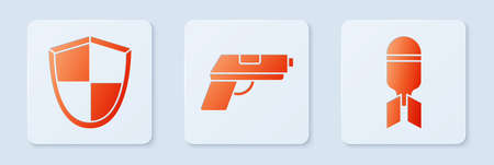 Set Pistol or gun, Shield and Aviation bomb. White square button. Vector 向量圖像