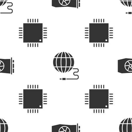 Set Video graphic card, Social network and Processor with microcircuits CPU on seamless pattern. Vector