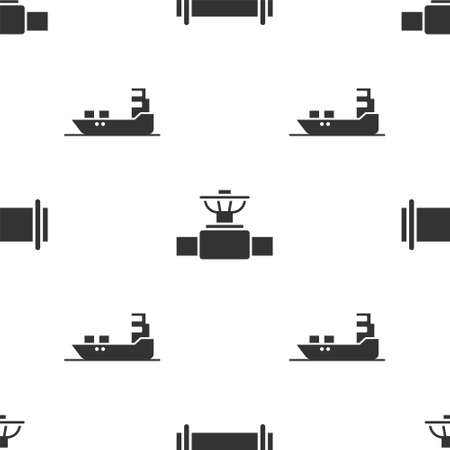 Set Industry pipe, Industry pipe and valve and Oil tanker ship on seamless pattern. Vector