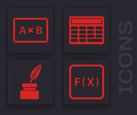 Set Function mathematical symbol, Chalkboard, Calculator and Feather and inkwell icon. Vector