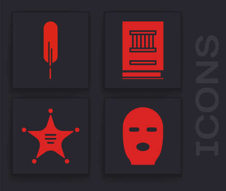 Set Thief mask, Feather pen, Law book and Hexagram sheriff icon. Vector