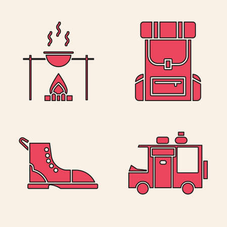 Set Rv Camping trailer, Campfire and pot, Hiking backpack and Hiking boot icon. Vector