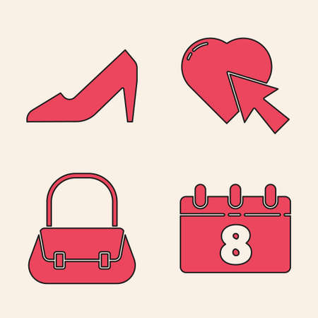 Set Calendar with 8 March, Woman shoe, Heart and cursor click and Handbag icon. Vector