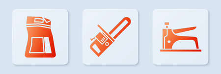 Set Chainsaw, Cement bag and Construction stapler. White square button. Vector