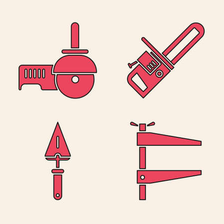 Set Clamp tool, Angle grinder, Chainsaw and Trowel icon. Vector