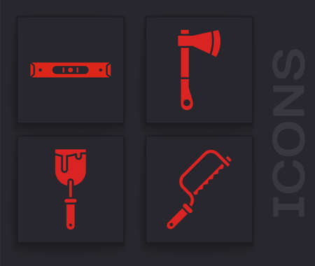 Set Hacksaw, Construction bubble level, Wooden axe and Putty knife icon. Vector Stock Illustratie