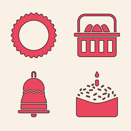 Set Easter cake and candle, Sun, Basket with easter eggs and Ringing bell icon. Vector
