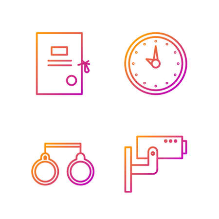 Set line Security camera, Handcuffs, Lawsuit paper and Clock. Gradient color icons. Vector