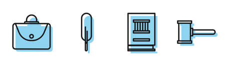 Set line Law book, Briefcase, Feather pen and Judge gavel icon. Vector 向量圖像