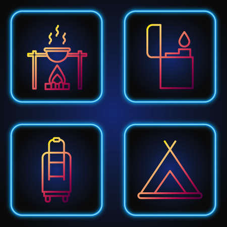 Set line Tourist tent, Suitcase, Campfire and pot and Lighter. Gradient color icons. Vector