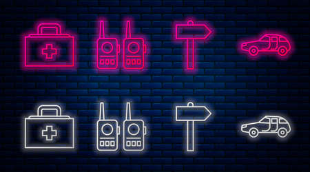 Set line Walkie talkie, Road traffic signpost, First aid kit and Car. Glowing neon icon on brick wall. Vector Stock Illustratie