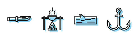 Set line Wooden log, Camping knife, Campfire and pot and Anchor icon. Vector