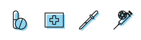 Set line Pipette, Medicine pill or tablet, First aid kit and Syringe and virus icon. Vector
