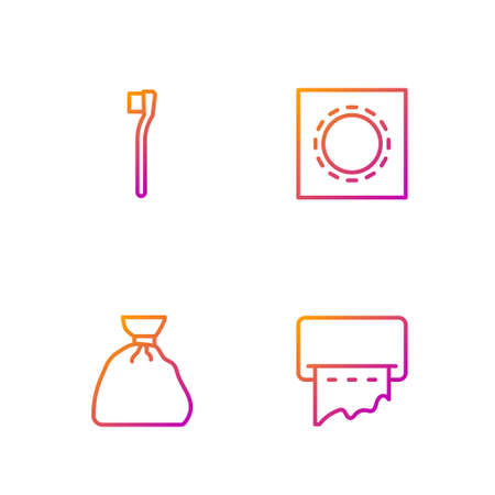 Set line Paper towel dispenser on wall, Garbage bag, Toothbrush and Condom in package safe sex. Gradient color icons. Vector Illustration