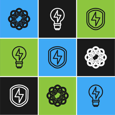 Set line Atom, Secure shield with lightning and Light bulb icon. Vector