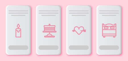 Set line Burning candle, Cake on plate, Amour with heart arrow and Bedroom. White rectangle button. Vector
