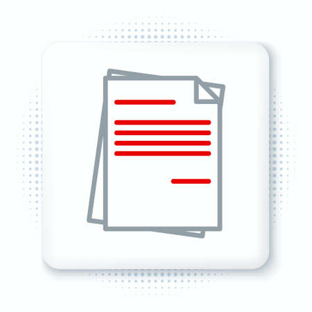 Line File document icon isolated on white background. Checklist icon. Business concept. Colorful outline concept. Vector