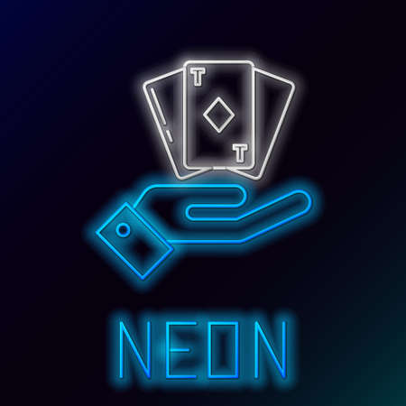 Glowing neon line Hand holding deck of playing cards icon isolated on black background. Casino gambling. Colorful outline concept. Vector
