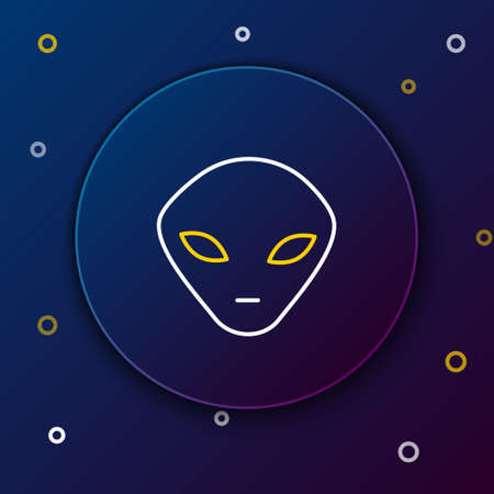 Line Alien icon isolated on blue background. Extraterrestrial alien face or head symbol. Colorful outline concept. Vector