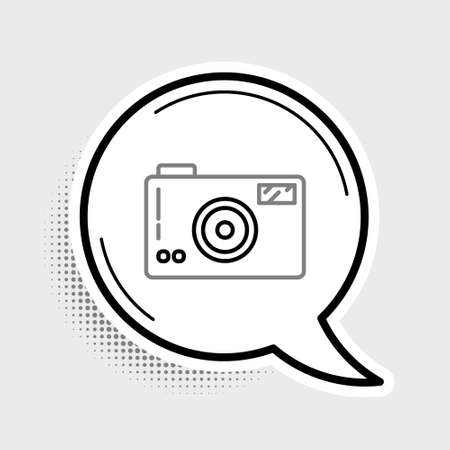 Line Photo camera icon isolated on grey background. Foto camera icon. Colorful outline concept. Vector