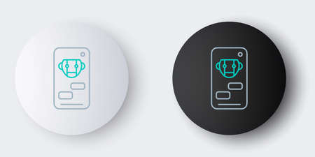 Line Bot icon isolated on grey background. Robot icon. Colorful outline concept. Vector 矢量图像
