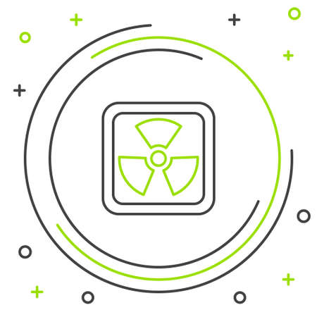 Line Radioactive icon isolated on white background. Radioactive toxic symbol. Radiation Hazard sign. Colorful outline concept. Vector