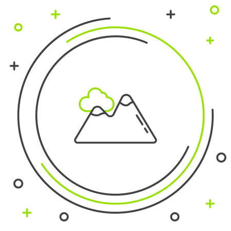 Line Mountains icon isolated on white background. Symbol of victory or success concept. Colorful outline concept. Vector Ilustrace