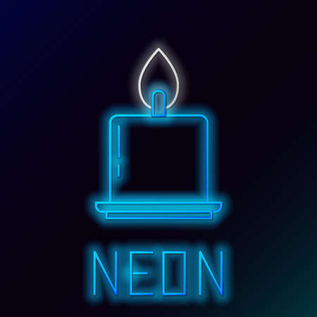 Glowing neon line Burning candle in candlestick icon isolated on black background. Cylindrical candle stick with burning flame. Colorful outline concept. Vector