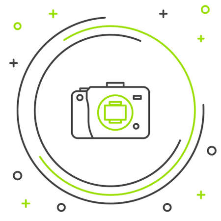 Line Mirrorless camera icon isolated on white background. Foto camera icon. Colorful outline concept. Vector 向量圖像