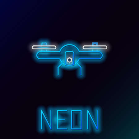 Glowing neon line Drone flying icon isolated on black background. Quadrocopter with video and photo camera symbol. Colorful outline concept. Vector 版權商用圖片